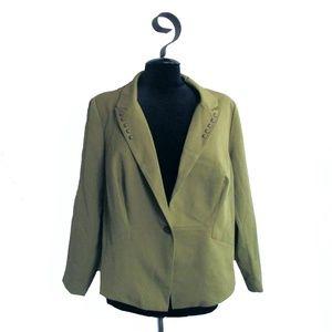 Daniel Rainn Green Fitted Jacket Plus Size 1X NWT